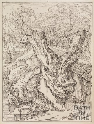 A study of a tree stump in Ullswater, Cumberland by Thomas Barker, 1814