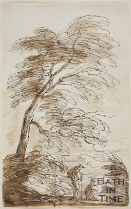 Sketch of two figures by a tree by Thomas Barker (1769 - 1849)