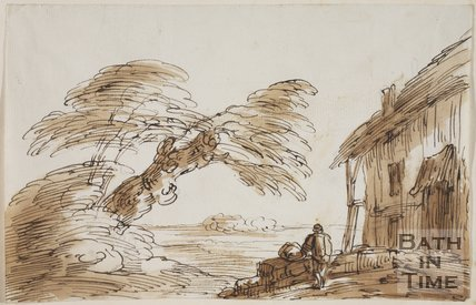 Sketch of a thatched house by Thomas Barker (1769 - 1849)