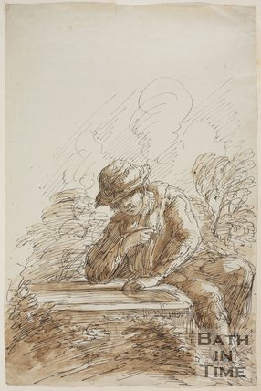 Sketch of a man seated looking at a stone tablet (?) by Thomas Barker, 1929