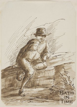 Sketch of a man with a hat sitting on a flat stone by Thomas Barker (1769 - 1840)