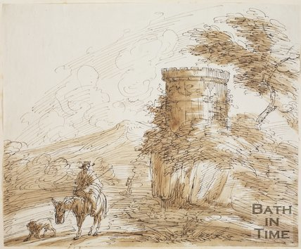 Sketch of a man on horseback passing a ruined tower by Benjamin Barker (1776 - 1838)