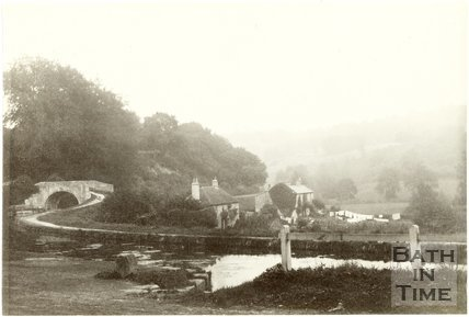 Looking towards Limpley Stoke over the Somersetshire Coal Canal at Tucking Mill, c.1870
