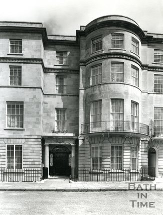Entrance and elevation of 1 Sion Hill Place, Bath, 1956