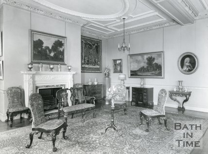 Interior photograph of 1 Sion Hill Place, Bath, 1956