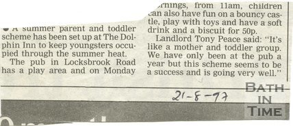 Summer parent and toddler scheme - Dolphin Inn, Bath, 21 August 1997