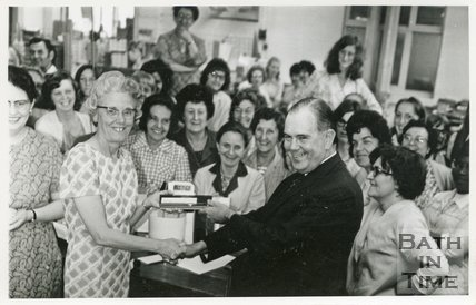A leaving presentation at Cedric Chivers bookbinders, July 16 1971