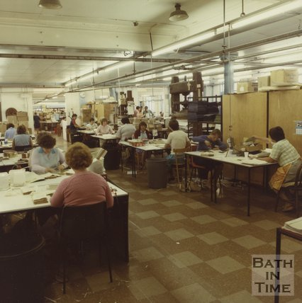 The Cedric Chivers bookbinding works at Portway House, Combe Park, Bath, c.1984