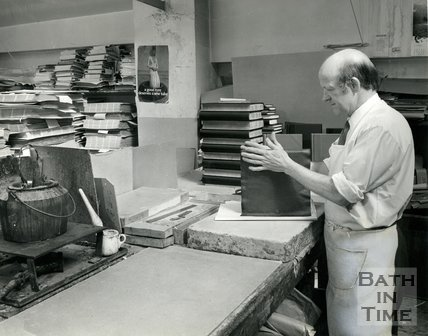 At work at Cedric Chivers bookbinders, Portway House, Combe Park, Bath, 1970s