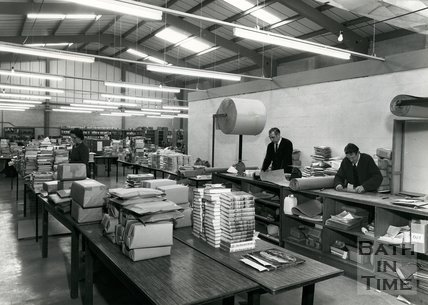 At work at Cedric Chivers bookbinders, Portway House, Combe Park, Bath, c.1970s