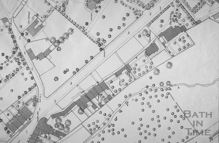 Weston Road showing The Grove, Grove Cottages, Bath 1:500 OS map 1885 - detail