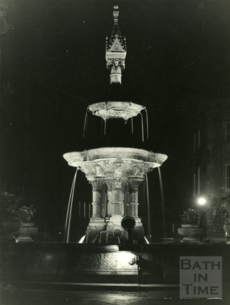 The fountain at Laura Place, Bath at night