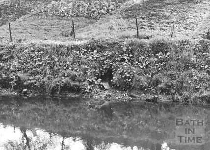 Surface water discharge on east bank approx. 200ft above Wash House Lock, Widcombe, Bath 1956