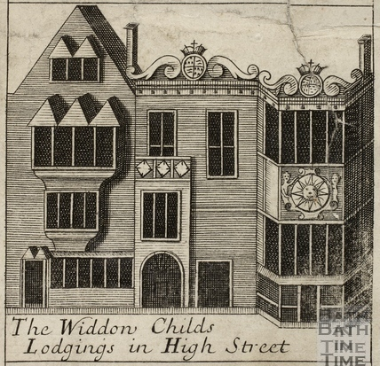 The Widdon Child's Lodgings in High Street, Bath. Gilmore 1694-1717 - detail