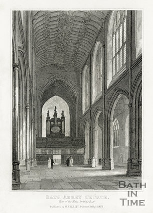 Bath Abbey Church, view of the nave looking east c.1840