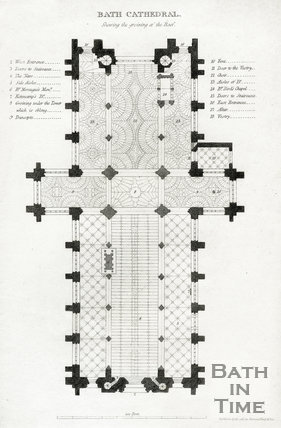 Plan of Bath Cathedral showing the groining of the Roof, Bath 1817