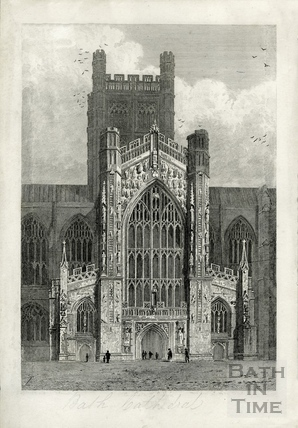 The West door of Bath Cathedral (Abbey), Bath c.1816