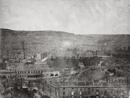 Bath Spa Station view from Beechen Cliff, Bath c.1850