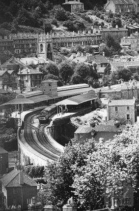 View of Bath Spa Station, Bath 1964