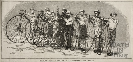 Bicycle race from Bath to London - The start 1874