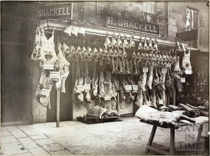 Shackell's butchers shop, 6, Margaret's Buildings, Bath 1885