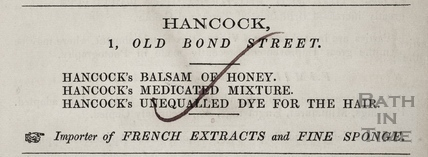 G. Hancock, Importer of French Extracts and Fine Sponge, 1, Old Bond Street, Bath 1854