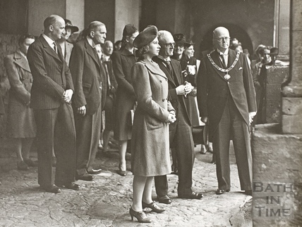 Princess Elizabeth and Mayor Clements at the Great Roman Bath, Bath 1945