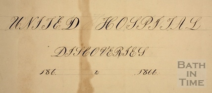 Cover to folder entitled United Hospital Discoveries, Bath 186x to 1866