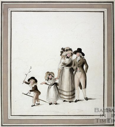 Family Walking. Watercolour c.1785