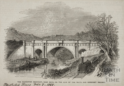 The Claverton Aqueduct near Bath on the line of the Wilts and Somerset Railway 1857