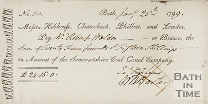 Cheque paid to Robert Wheldon, Somersetshire Coal Canal 1799