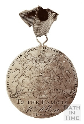 Silver medal, the gift of His Royal Highness William, Duke of Cumberland, to Ralph Allen 1752