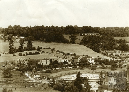 View across the valley of Monkton Combe and the newly built station 1911
