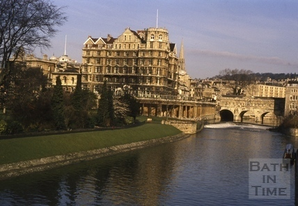 The Empire Hotel, Parade Gardens and Pulteney Bridge, Bath c.1975