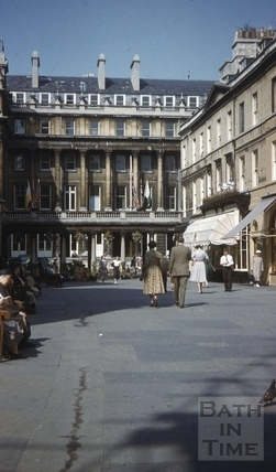 Outside the Pump Room, looking towards the Grand Pump Room Hotel, Bath c.1955