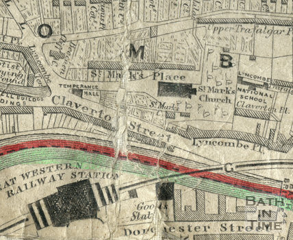Detail of the St Marks Road, Bath  area of the 1852 Cotterall Map.