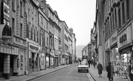 A view up Westgate Street, 28 January 1977