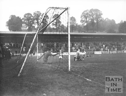 Goalmouth action at Bath City Football Club, c.1962
