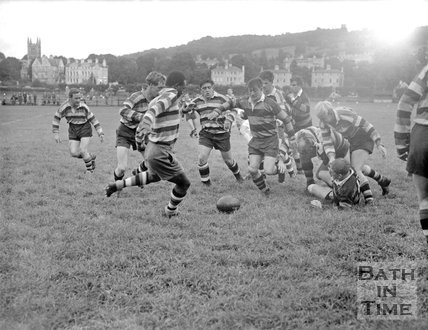 Bath Rugby vs. an unidentified team at the Recreation Ground, c.1963
