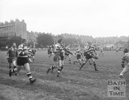 Bath Rugby vs. an unidentified team at the Recreation Ground, c.1962