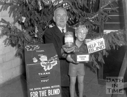 Collecting for the Royal National Institute for the Blind in Bath, c.1963