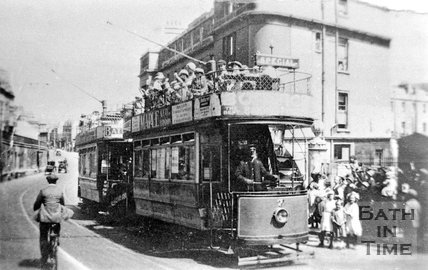 Bath Electric Tram number 7 on London Road Bath, c.1910