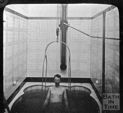 A gentleman in a plunge pool, Bath Treatment Centre, c.1900