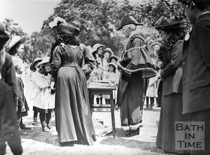 A garden party in one of the parks in Bath, c.1900