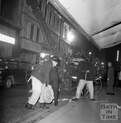 Firemen in Westgate Street, Bath, 5 November 1970