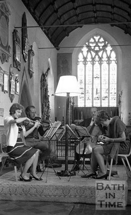 Rehearsals for the Bath Festival Wind and String Quartet at an unidentified local church near Bath, 28 May 1971
