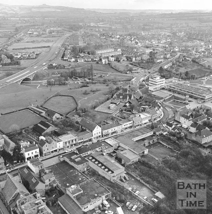 Aerial view of Keynsham from a helicopter, 19 November 1970