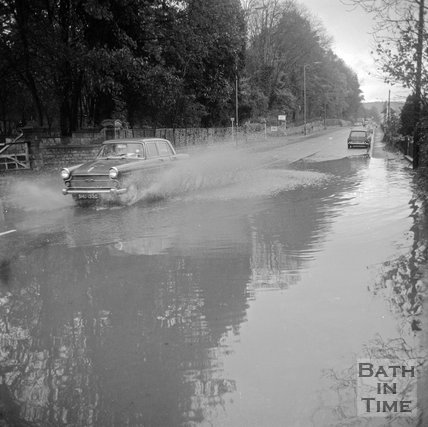 Flooding on London Road West, outside Bailbrook House, near Bath, 19 November 1971