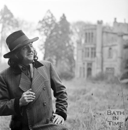 Charlie Ware outside Battlefields House, Lansdown, near Bath, December 30 1971