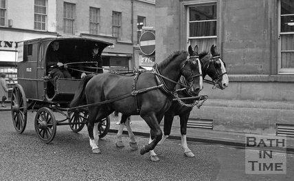 An old Bath Police Wagon on the streets of Bath, 19 July 1972